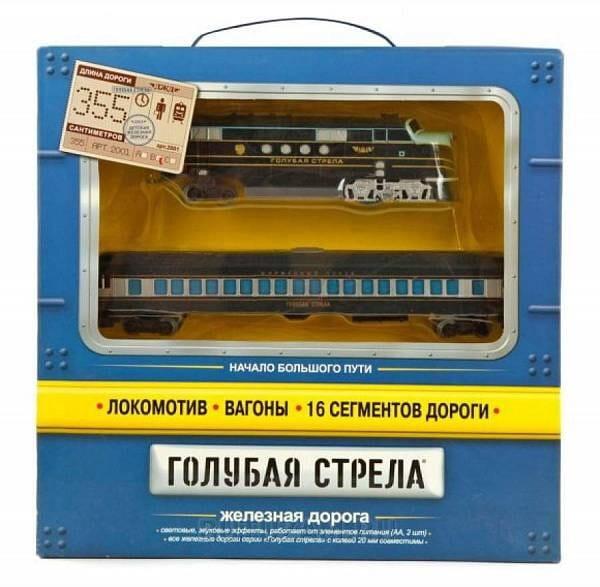 Железная дорога ГОЛУБАЯ СТРЕЛА Тепловоз с одним вагоном  355 см - Железные дороги