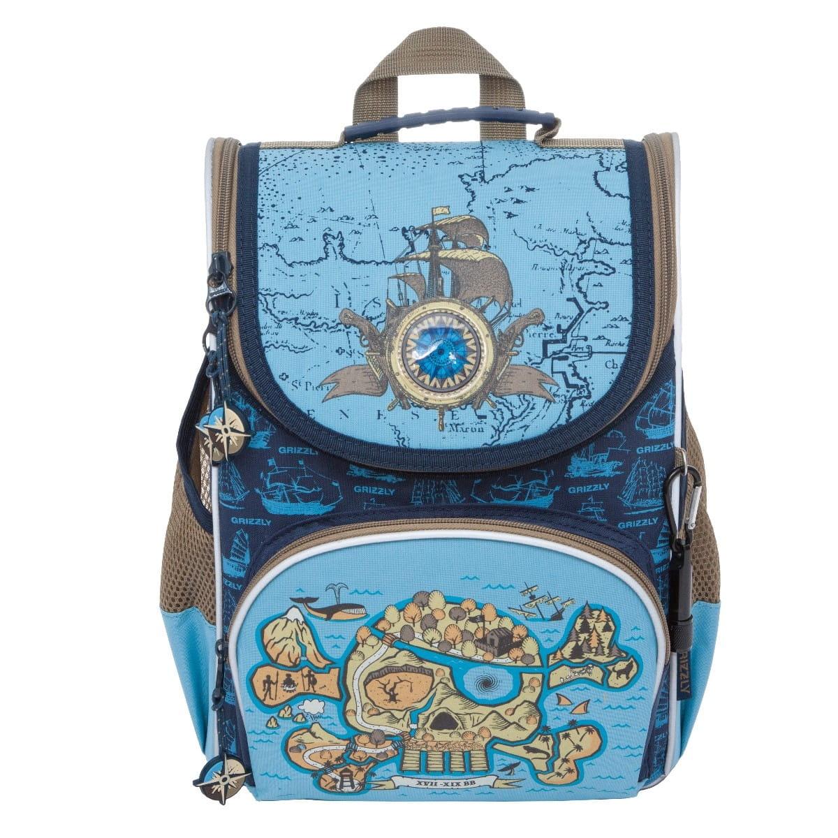 Рюкзак GRIZZLY Череп  сине-голубой (с мешком для обуви) - Рюкзаки и ранцы