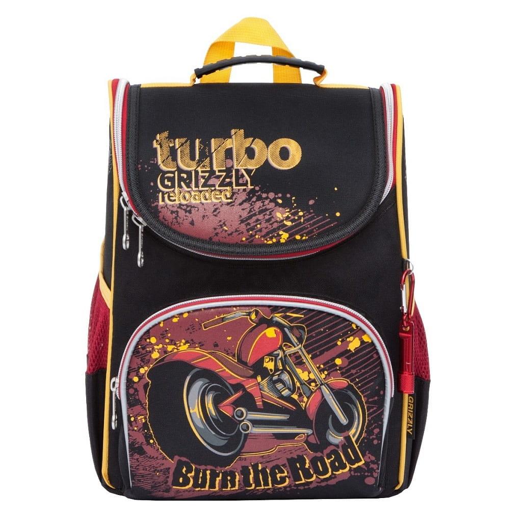 Рюкзак GRIZZLY Мотоцикл  черно-красный (с мешком для обуви) - Рюкзаки и ранцы