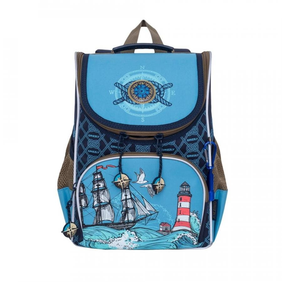 Рюкзак GRIZZLY Корабль  сине-голубой (с мешком для обуви) - Рюкзаки и ранцы