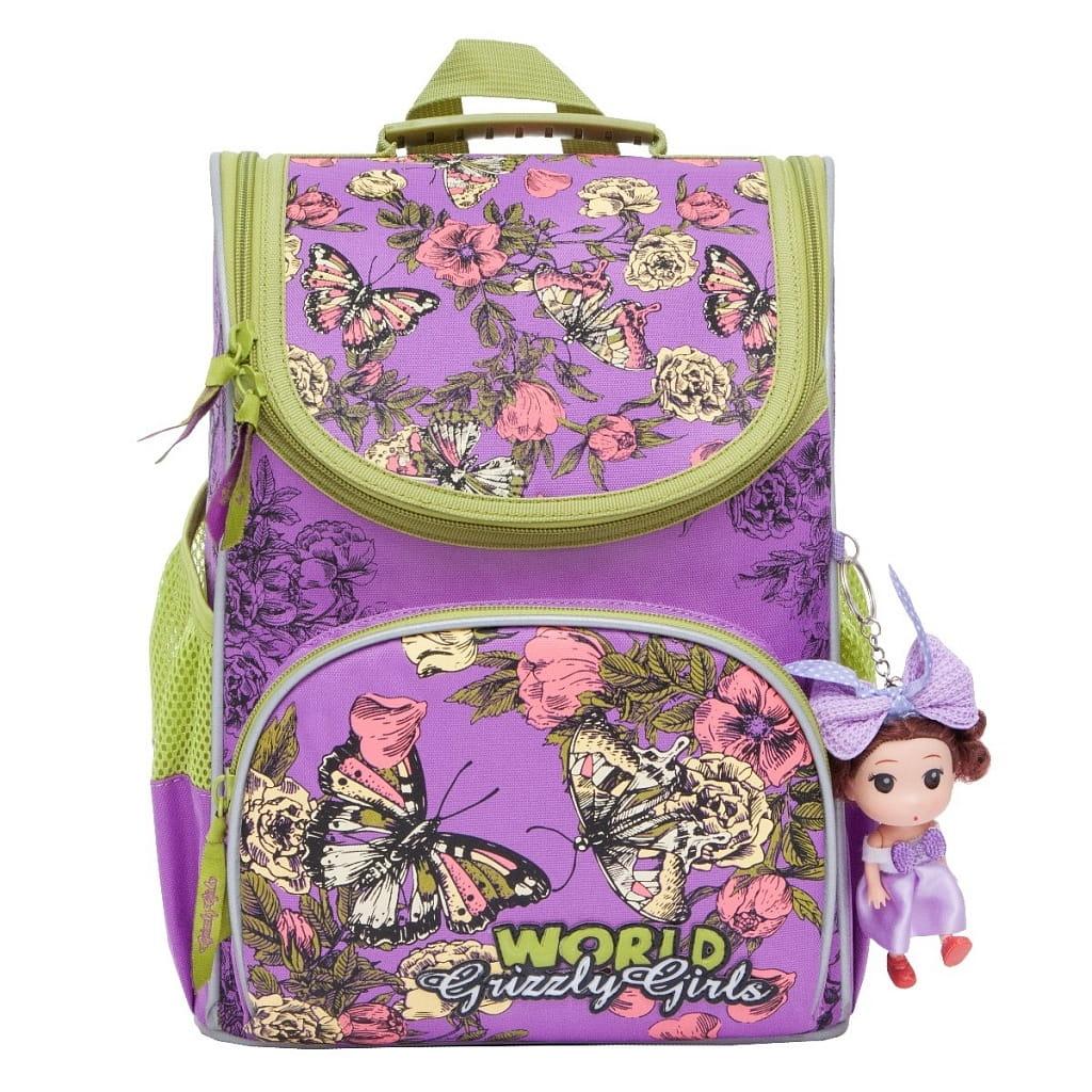 Рюкзак GRIZZLY Бабочки  лиловый (с мешком для обуви) - Рюкзаки и ранцы