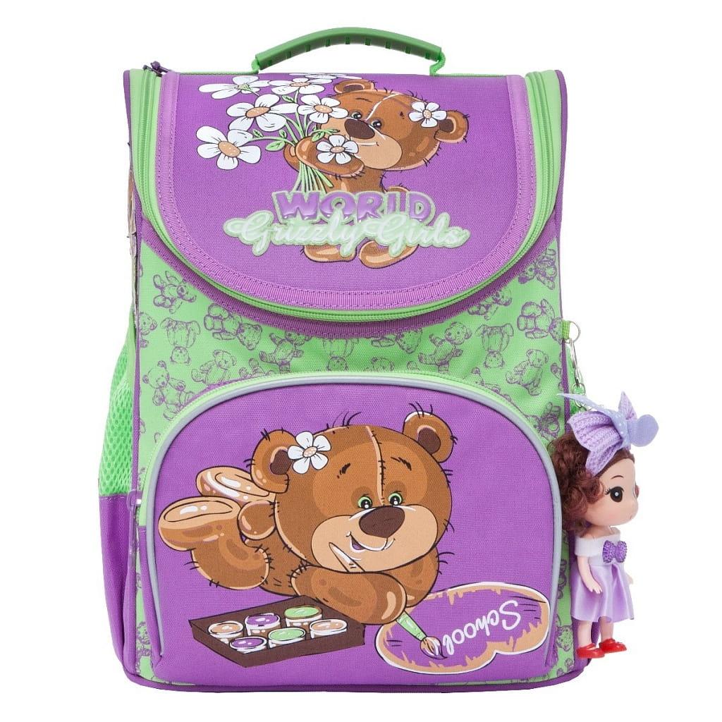 Рюкзак GRIZZLY Мишка  лилово-салатовый (с мешком для обуви) - Рюкзаки и ранцы