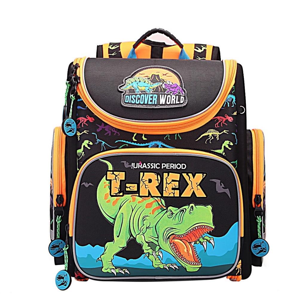 Рюкзак GRIZZLY Динозавр Rex  черно-оранжевый (с мешком для обуви) - Рюкзаки и ранцы