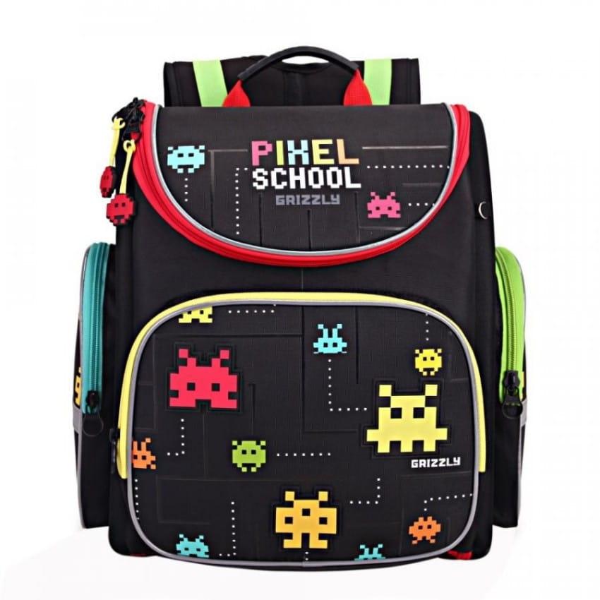 Рюкзак GRIZZLY Пиксели  черный (с мешком для обуви) - Рюкзаки и ранцы