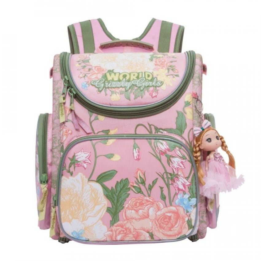 Рюкзак GRIZZLY Цветы  розовый (с мешком для обуви) - Рюкзаки и ранцы