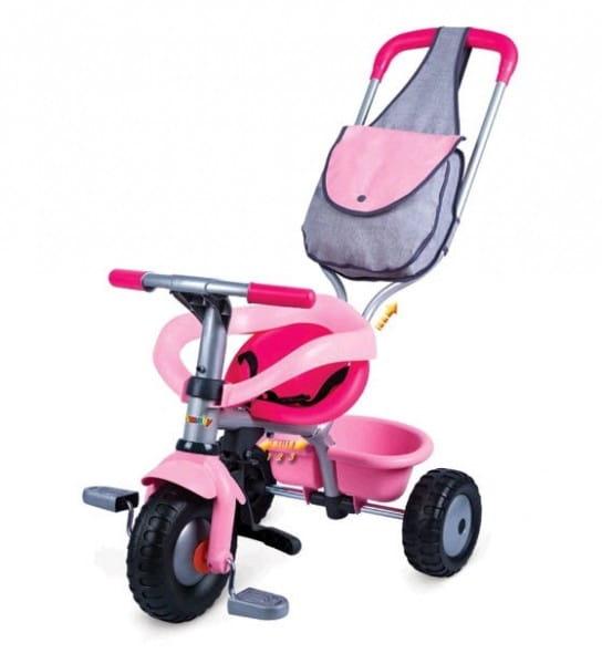 Купить Детский трехколесный велосипед Smoby с сумкой розовый в интернет магазине игрушек и детских товаров