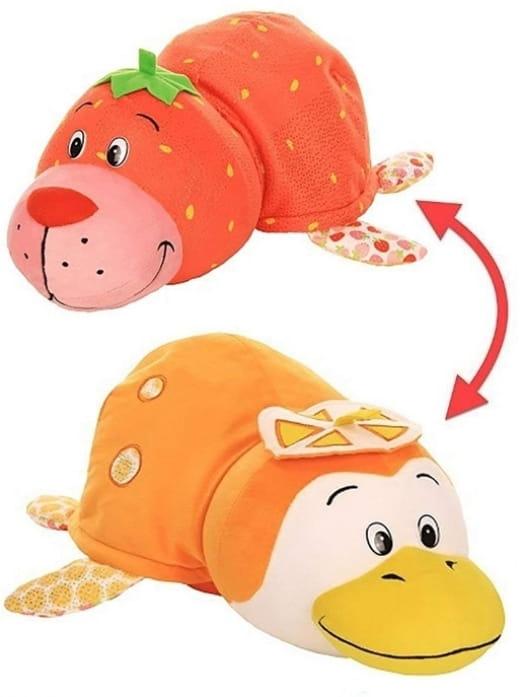 Игрушка-вывернушка 2 в 1 1TOY Ням-Ням Морской котик с ароматом клубники-Пингвинчик с ароматом апельсиновой газировки (40 см)