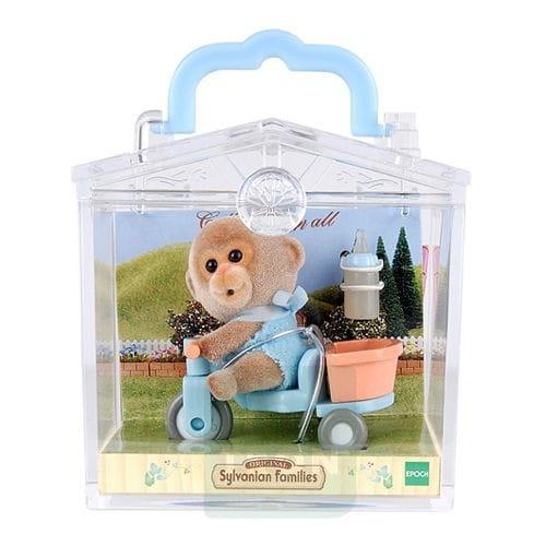 Купить Игровой набор Sylvanian Families Младенец в пластиковом сундучке (обезьянка на велосипеде) в интернет магазине игрушек и детских товаров
