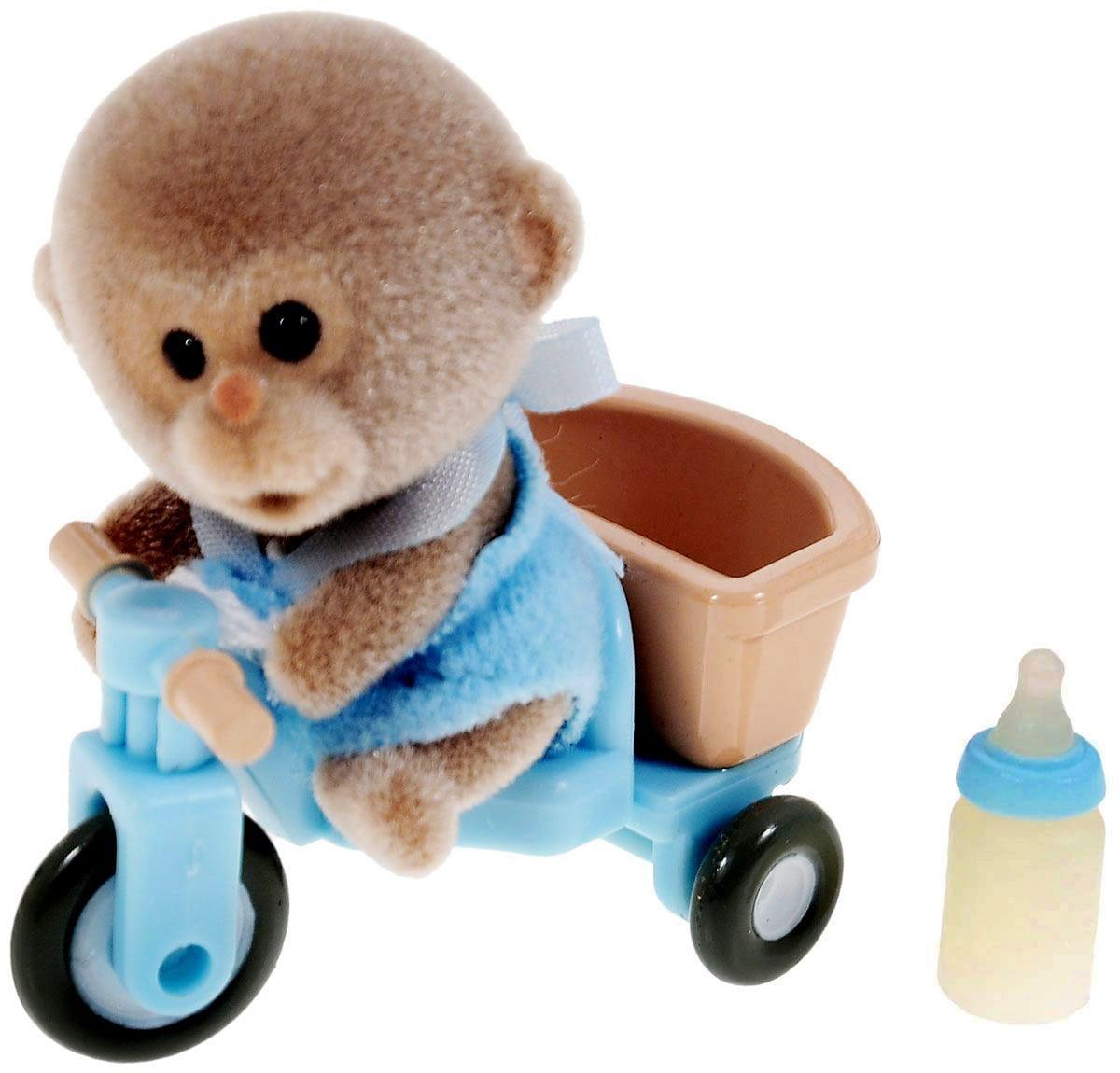 Игровой набор Sylvanian Families 3350 Младенец в пластиковом сундучке (обезьянка на велосипеде)