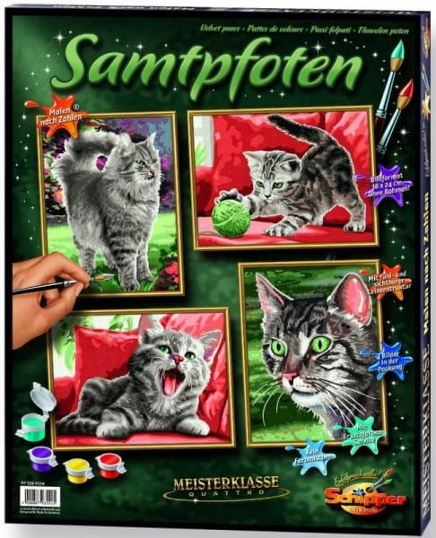 Купить Раскраска по номерам Schipper Бархатные лапки - 4 штуки в интернет магазине игрушек и детских товаров