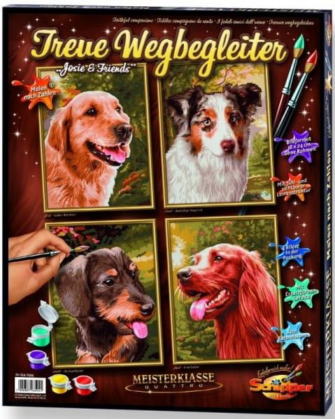 Купить Раскраска по номерам Schipper Верный друг - 4 штуки в интернет магазине игрушек и детских товаров