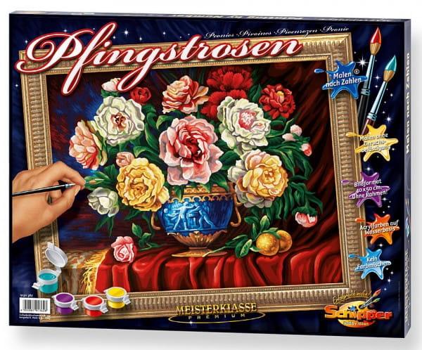 Купить Раскраска по номерам Schipper Пионы в интернет магазине игрушек и детских товаров
