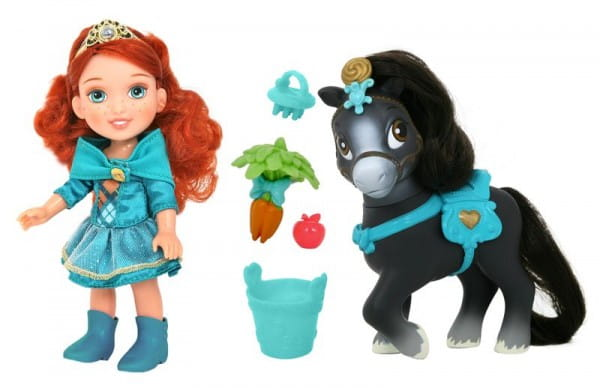 Купить Кукла Disney Princess Принцессы Дисней Малышка Мерида с конем 15 см в интернет магазине игрушек и детских товаров