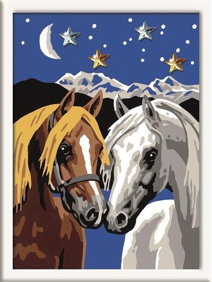 Раскраска по номерам Ravensburger Две лошадки