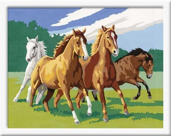Раскраска по номерам Ravensburger 28374 Дикие лошади