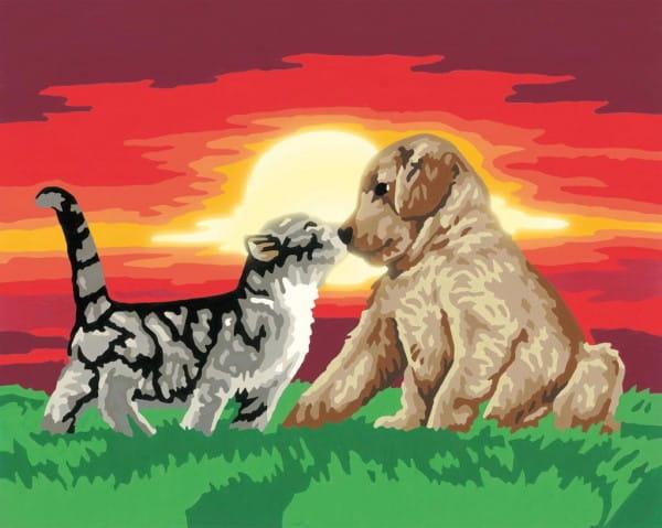 Раскраска по номерам Ravensburger 28381 Котенок и щенок