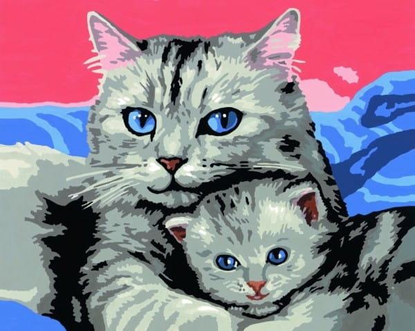 Раскраска по номерам Ravensburger 28390 Кошка с котенком