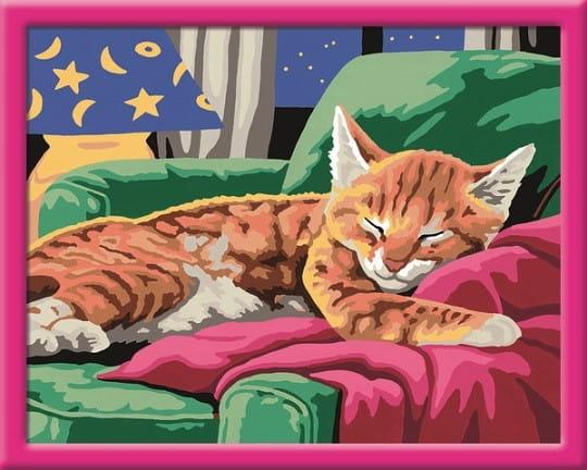 Раскраска по номерам Ravensburger 28425 Спящий котенок