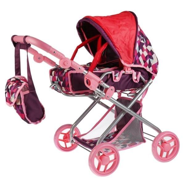 Коляска для кукол КАРАПУЗ 2 в 1 с сумкой - розово-фиолетовая клетка
