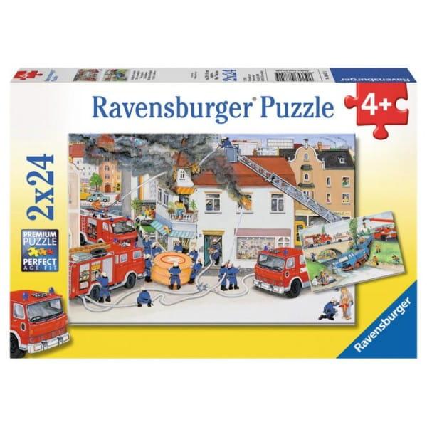 Купить Пазл Ravensburger Пожарная бригада 2 в 1 в интернет магазине игрушек и детских товаров