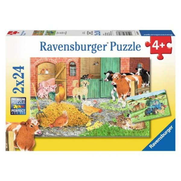 Купить Пазл Ravensburger На ферме 2 в 1 в интернет магазине игрушек и детских товаров