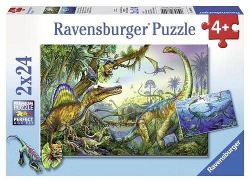 Купить Пазл Ravensburger Динозавры 2 в 1 в интернет магазине игрушек и детских товаров