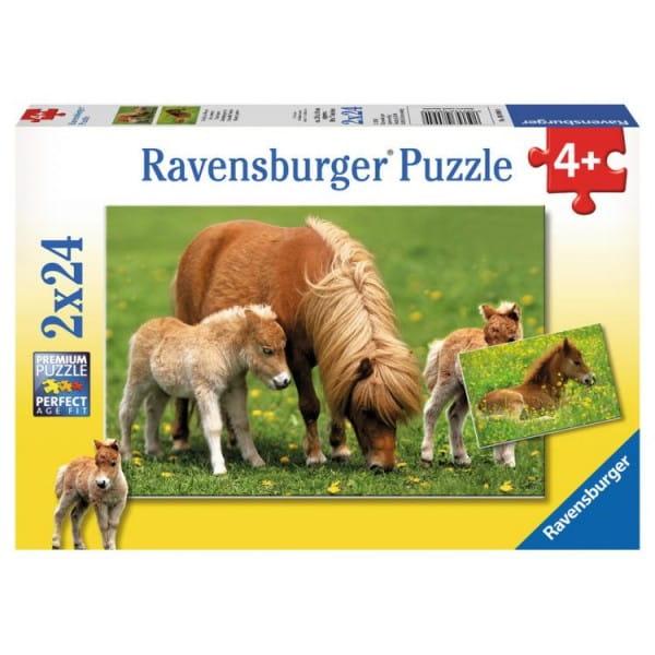 Купить Пазл Ravensburger Очаровательные пони 2 в 1 в интернет магазине игрушек и детских товаров