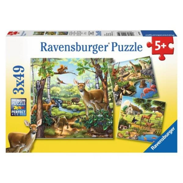 Купить Пазл Ravensburger Лес, зоопарк, домашние животные 3 в 1 в интернет магазине игрушек и детских товаров