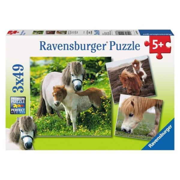 Купить Пазл Ravensburger Очаровательные пони 3 в 1 в интернет магазине игрушек и детских товаров