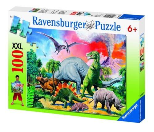 Пазл Ravensburger Среди динозавров - 100 деталей