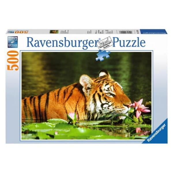 Пазл Ravensburger 14245 Тигр в лилиях - 500 деталей