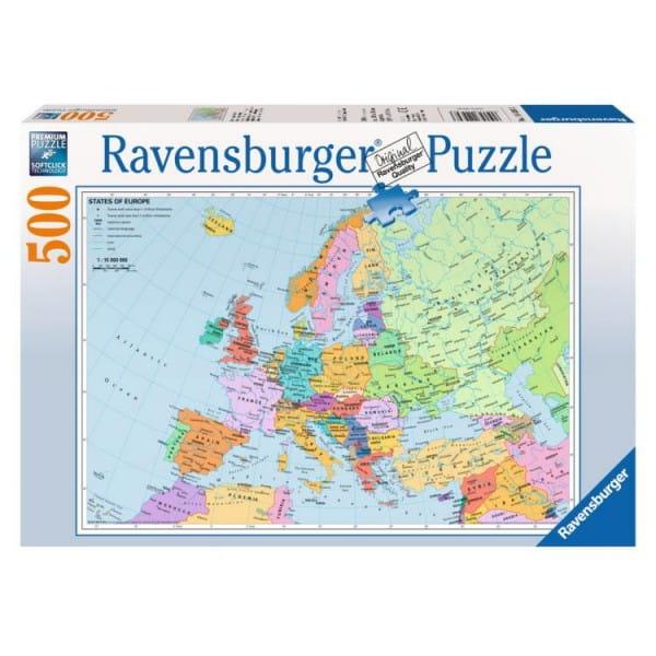 Купить Пазл Ravensburger Политическая карта Европы - 500 деталей в интернет магазине игрушек и детских товаров
