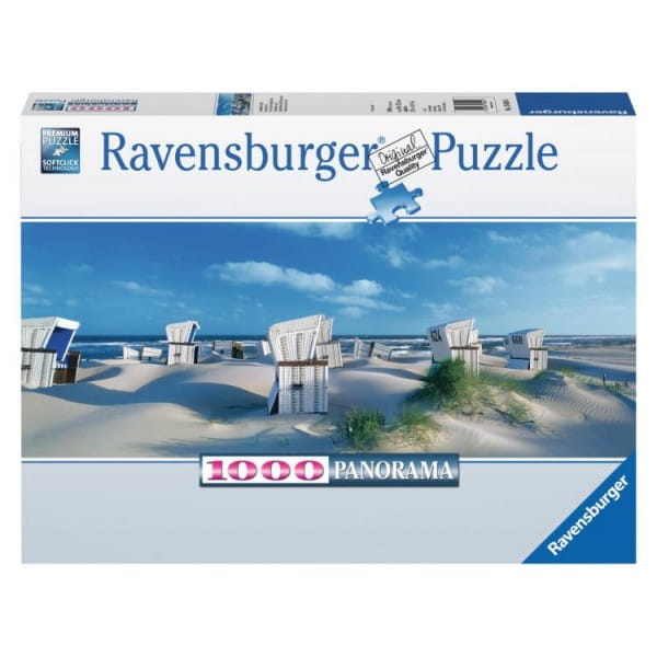 Купить Панорамный пазл Ravensburger Пляжные корзинки на Зюлте - 1000 деталей в интернет магазине игрушек и детских товаров