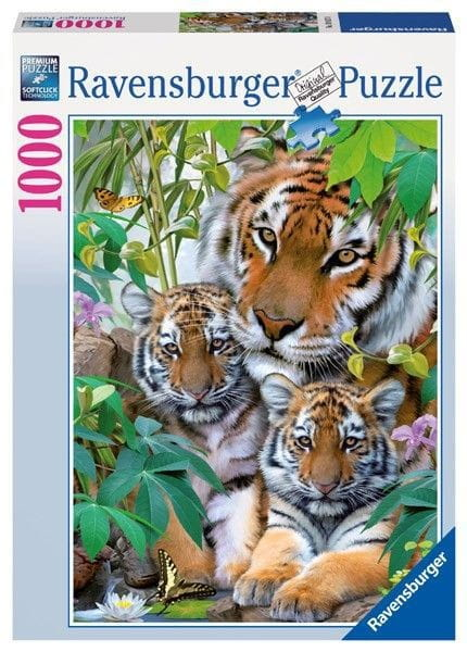 Купить Пазл Ravensburger Семья тигров - 1000 деталей в интернет магазине игрушек и детских товаров