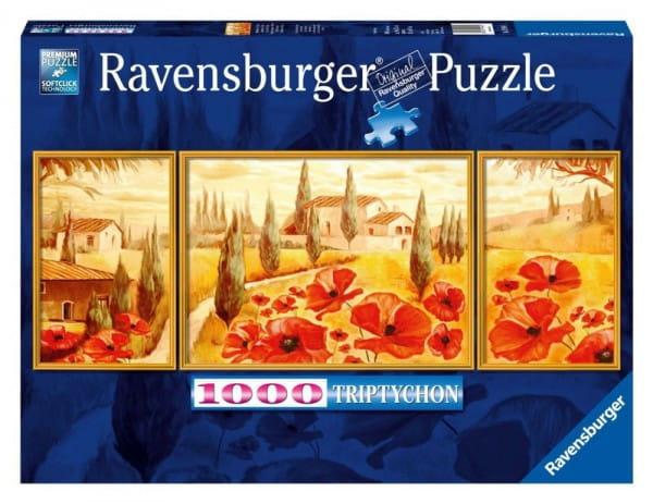 Купить Пазл-триптих Ravensburger Маки Тосканы - 1000 деталей в интернет магазине игрушек и детских товаров