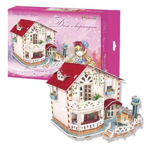 Купить Объемный 3D пазл CubicFun Дом с верандой в интернет магазине игрушек и детских товаров