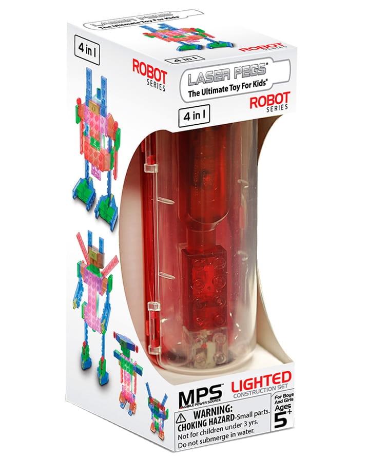 Светодиодный конструктор 4 в 1 Laser Pegs 200 Серия MPS - Роботы (в футляре)