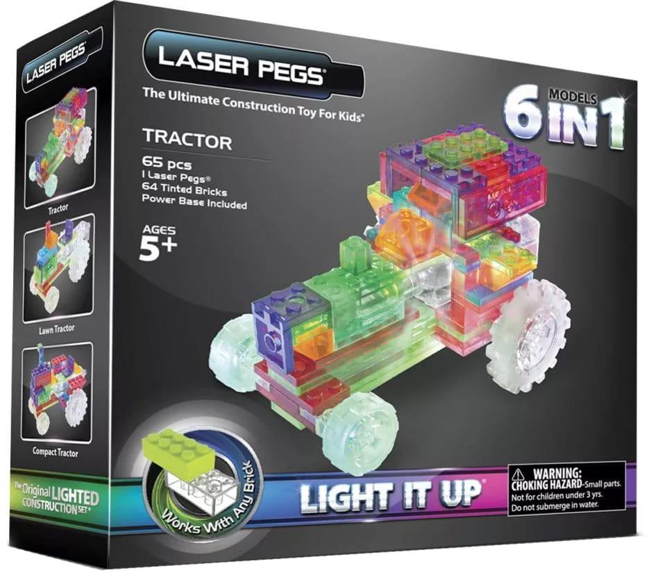 Светодиодный конструктор 6 в 1 Laser Pegs Трактор