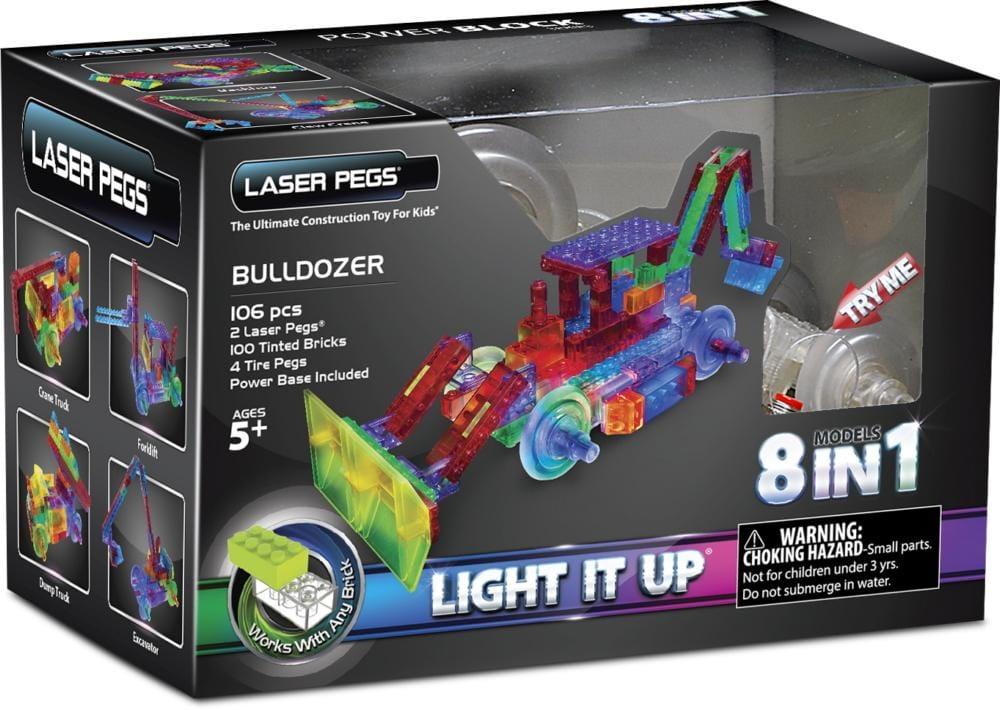 Светодиодный конструктор 8 в 1 Laser Pegs PB1420B Энергоблок Бульдозер