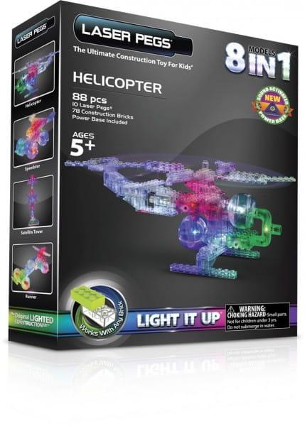 Светодиодный конструктор 8 в 1 Laser Pegs 1270 Вертолет