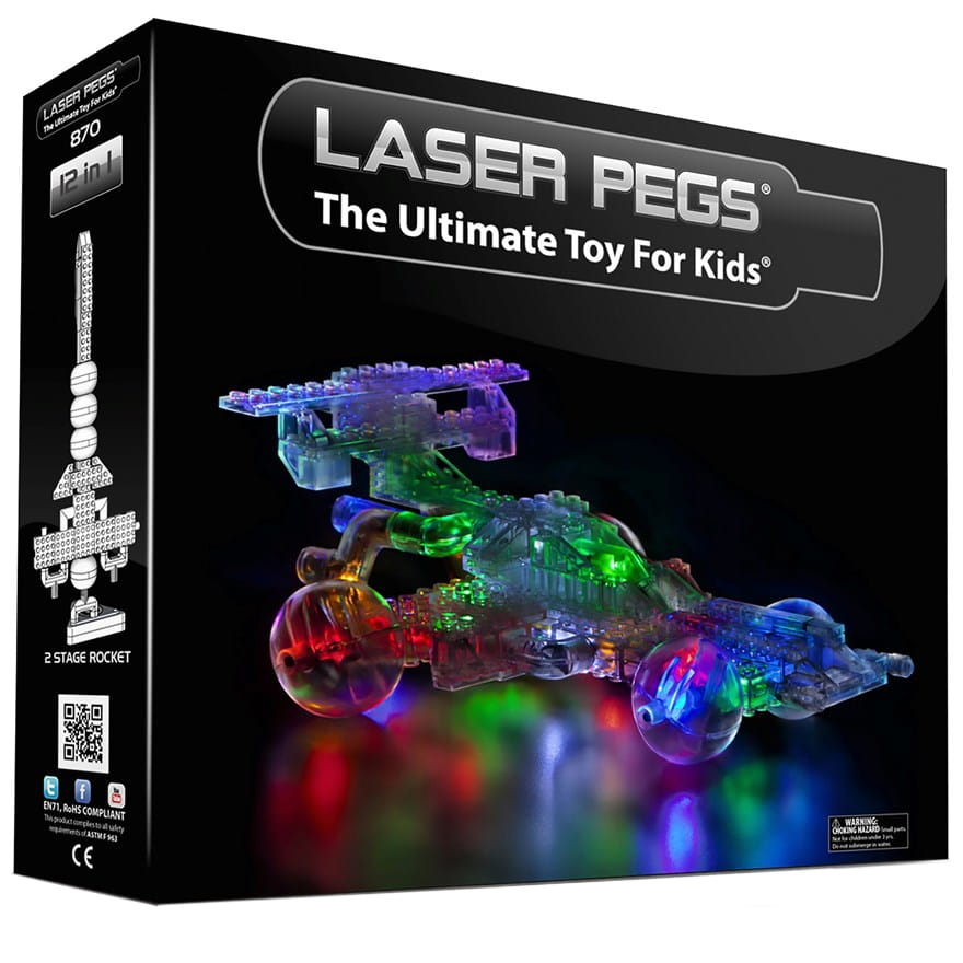 Светодиодный конструктор 12 в 1 Laser Pegs 870 Машина