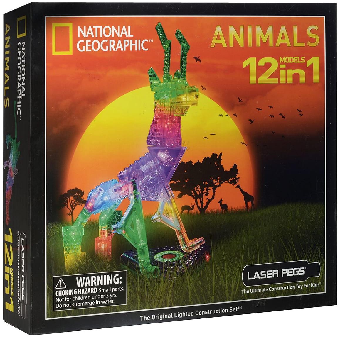 Светодиодный конструктор 12 в 1 Laser Pegs NG200 National Geographic - Животные