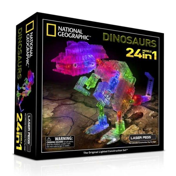 Светодиодный конструктор 24 в 1 Laser Pegs National Geographic - Динозавры
