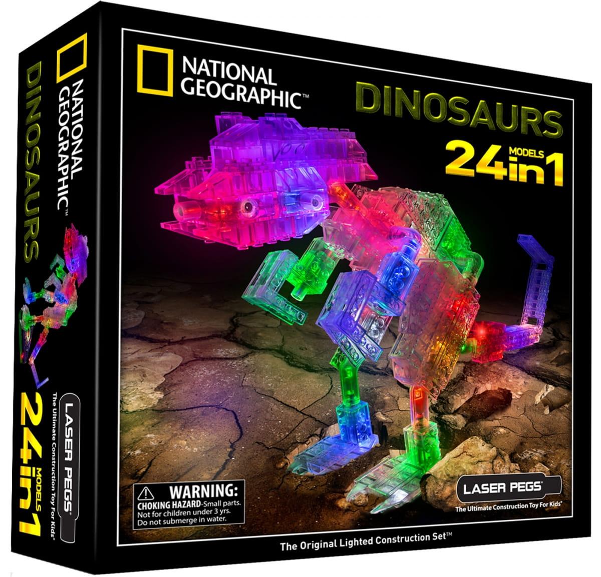 Светодиодный конструктор 24 в 1 Laser Pegs NG300 National Geographic - Динозавры