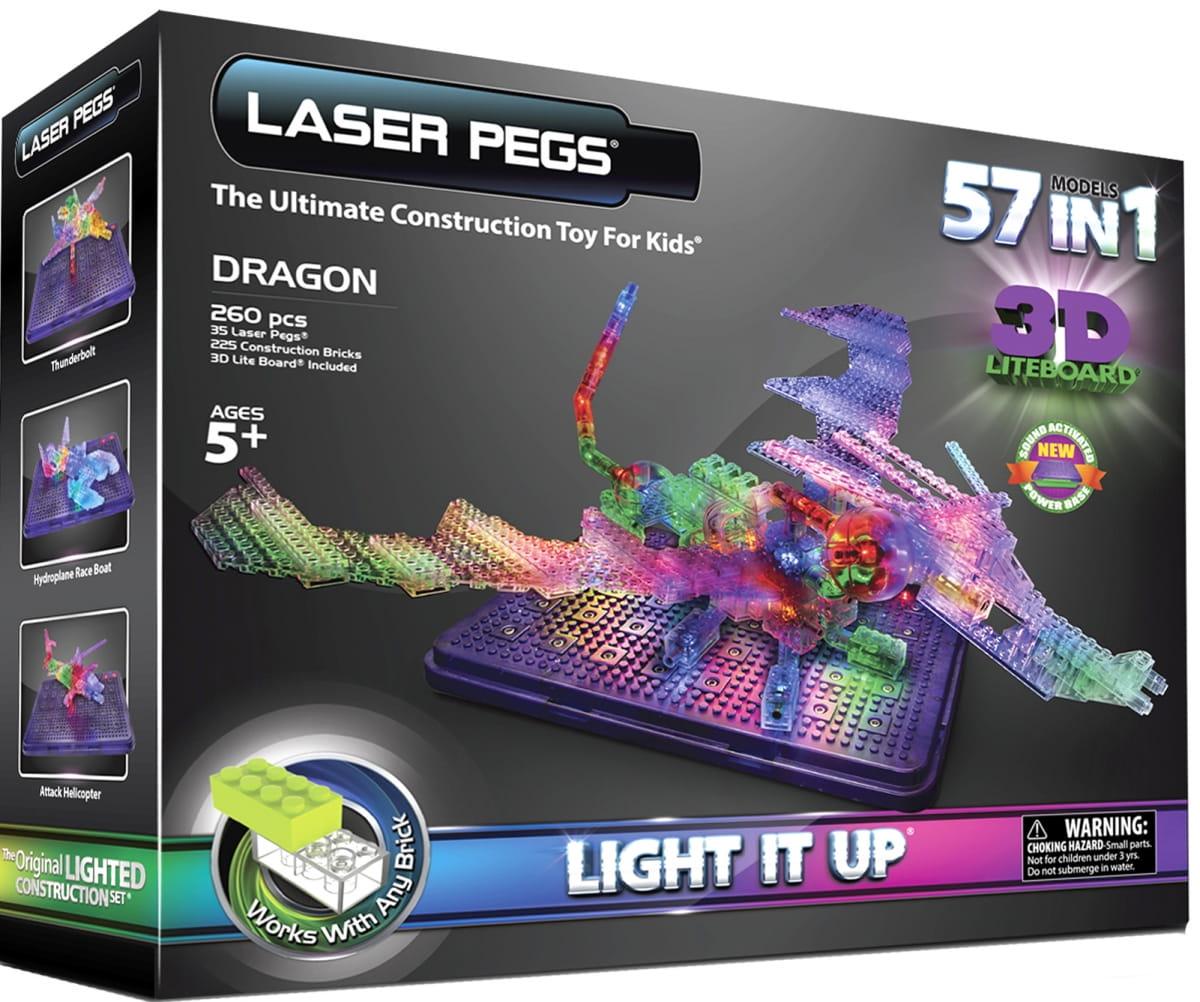 Световая 3D панель 57 в 1 Laser Pegs Дракон