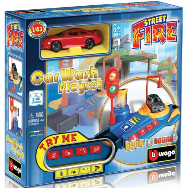 Купить Автомойка со звуковыми и световыми эффектами и металлический автомобиль Bburago 1:43 в интернет магазине игрушек и детских товаров