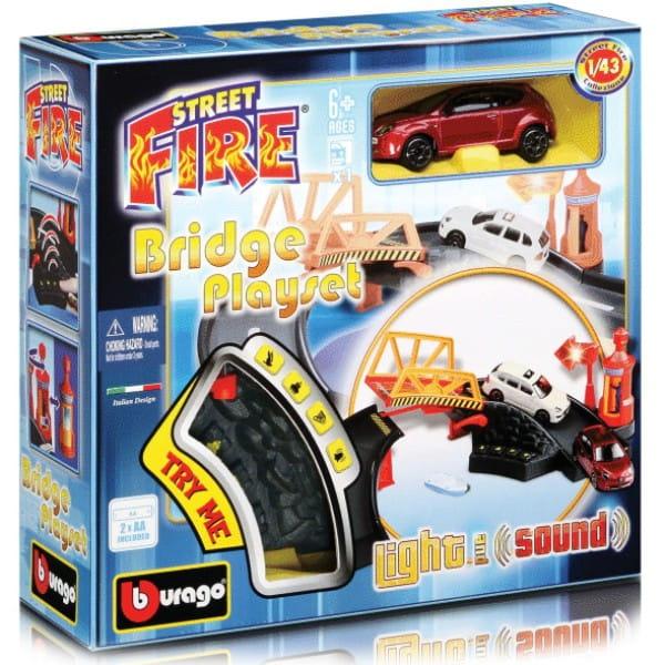 Купить Мост со звуковыми и световыми эффектами и металлический автомобиль Bburago 1:43 в интернет магазине игрушек и детских товаров