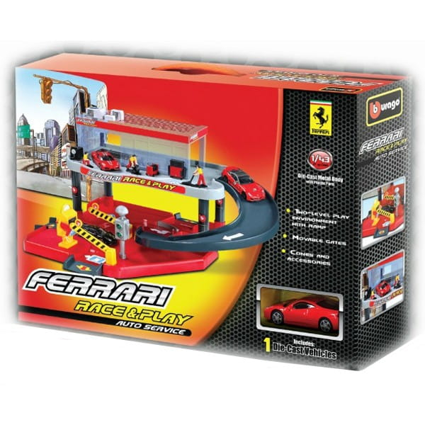 Купить Автосервис и металлический автомобиль Bburago Ferrari 1:43 в интернет магазине игрушек и детских товаров