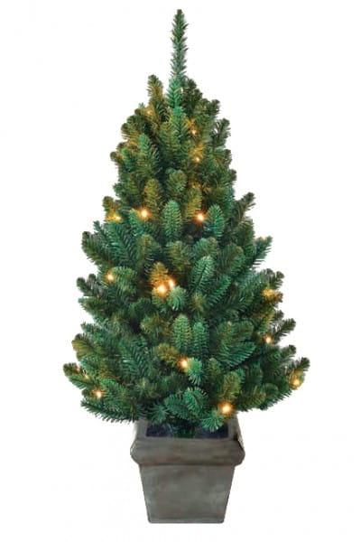 Купить Искусственная елка в горшке Black Box Горная - 90 см (с вплетенной гирляндой) в интернет магазине игрушек и детских товаров