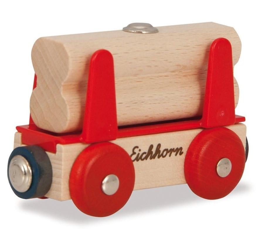 Игровой набор Eichhorn 100001358 Вагон с бревнами - 8 см
